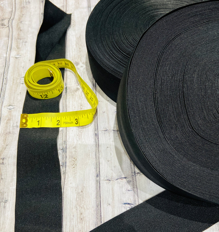 Black Elastic Webbing - Assorted Sizes - Sold by the meter