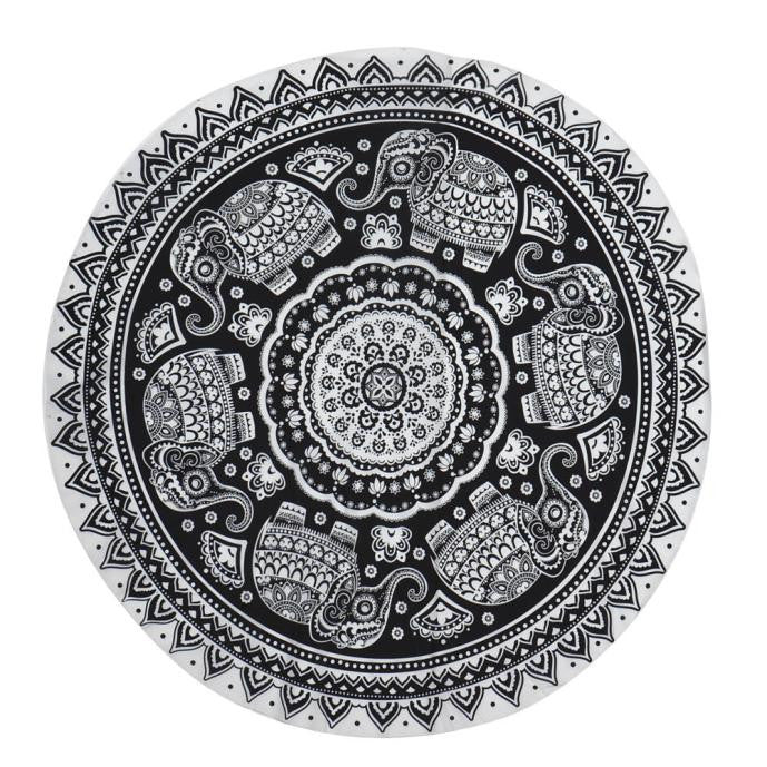 Round hippie beach towel/mat