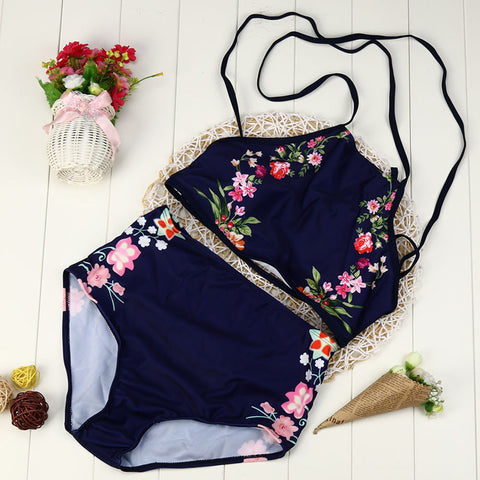 Flower print two piece swimsuit