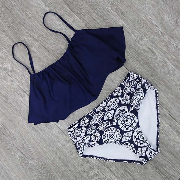 Retro high waist swimsuit bikini set