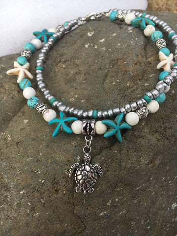 Starfish Turquoise Beaded Sea Turtle Anklet