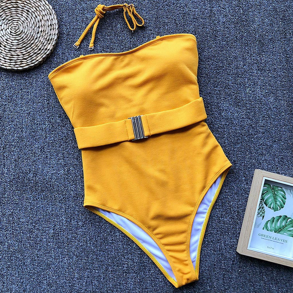 Classic yellow one piece with belt