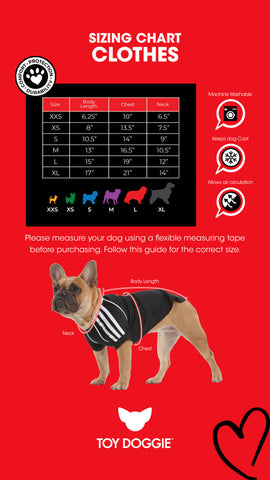 Dog and Cat Clothes Toy Doggie Sizing Chart