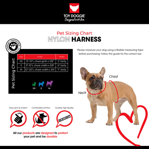 Nylon Harness Sizing Chart Toy Doggie Brand