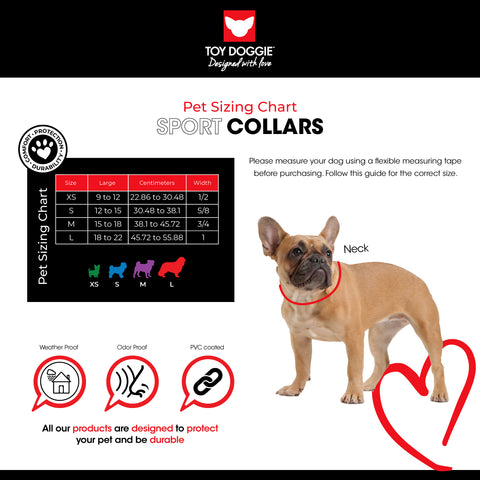 Sport Collar Sizing Chart Toy Doggie Brand