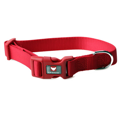 Toy Doggie™ - Deep Red Nylon Dog Collar
