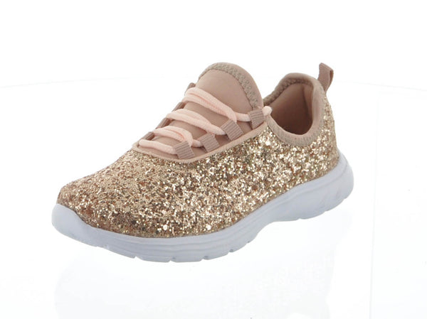 KID'S SHOES ROSE GOLD GLITTER TENNIS