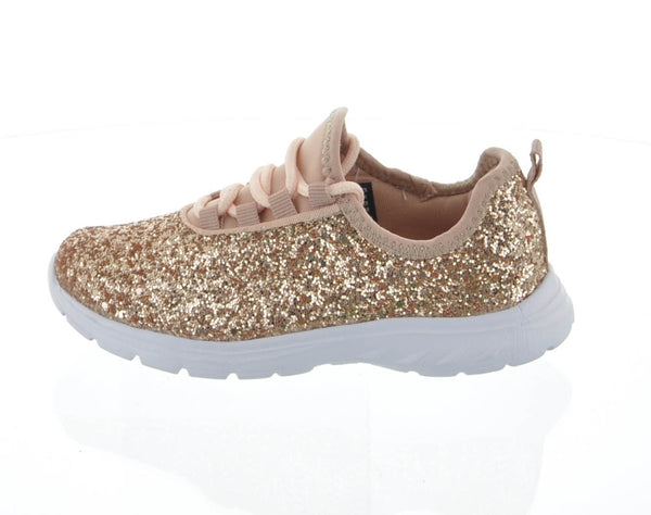 Kid S Shoes Rose Gold Glitter Tennis Sneakers 6340k