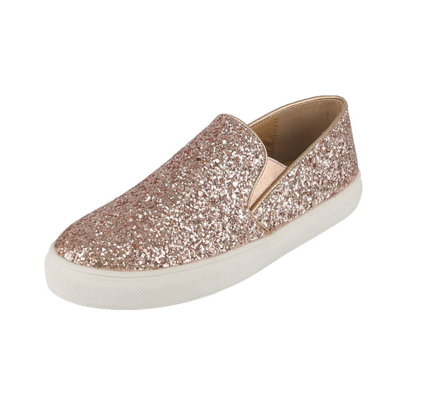 Woman S Shoes Rose Gold Glitter Tennis Sneakers Wagner