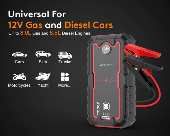 Car Jump Starter 22000mAh Portable Emergency Charger Car Booster Starting Device Power Bank Lithiumion Battery - vintrons.com