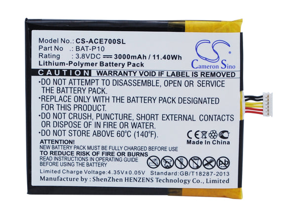 ACER BAT-P10, BAT-P10(1ICP5/61/73), KT.00106.001, PGF506173HT Replacement Battery For ACER E39, Liquid E700, Liquid E700 Triple, - vintrons.com