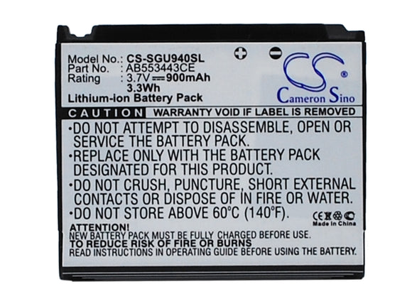 SAMSUNG AB603443EZ, AB603443EZBSTD Replacement Battery For SAMSUNG Glyde U940, SGH-U940, - vintrons.com