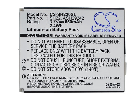 SHARP ASH29242, SH22 Replacement Battery For SHARP SH-06A, SH-07A, - vintrons.com