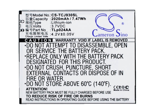 TCL TLp024AA Replacement Battery For TCL J930, J930T, J936D, - vintrons.com