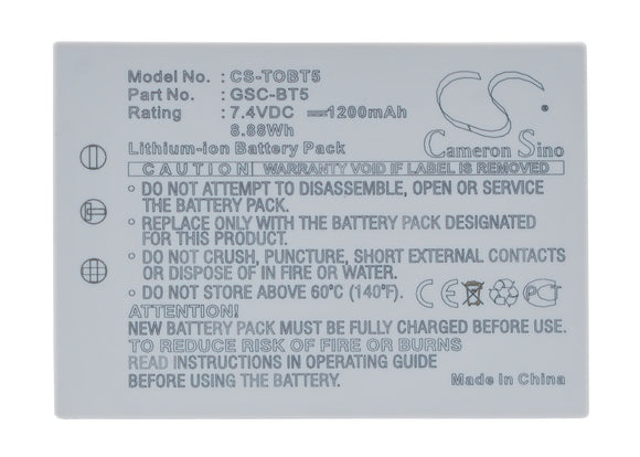 TOSHIBA BSC-BT5, GSC-BT5 Replacement Battery For TOSHIBA Gigashot GSC-R30, Gigashot GSC-R30AU, Gigashot GSC-R60, Gigashot GSC-R60AU, - vintrons.com