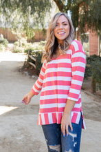 Load image into Gallery viewer, Coral Reef Striped 3/4 Sleeve Top