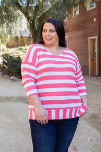 Coral Reef Striped 3/4 Sleeve Top