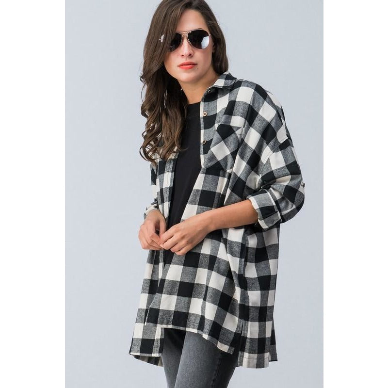 Oversized, Black & White Plaid Flannel