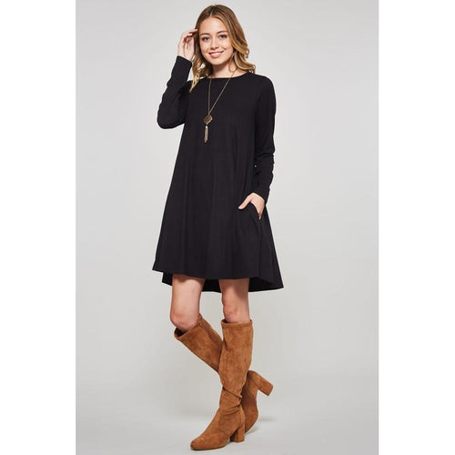 Long Sleeved Swing Dress with Pockets