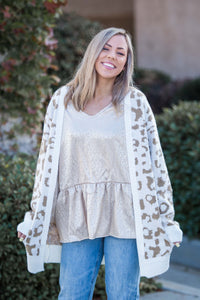 Purrfectly Layered Jacquard Knit Cardigan