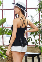 Load image into Gallery viewer, Opal Lace Trim Cami Top in Black
