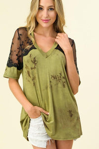 Olives & Martinis Lace Short Sleeve Top