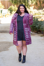 Load image into Gallery viewer, Burgundy Houndstooth Sweater Cardigan