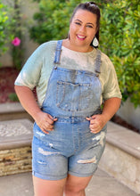 Load image into Gallery viewer, Light Denim Distressed Overalls