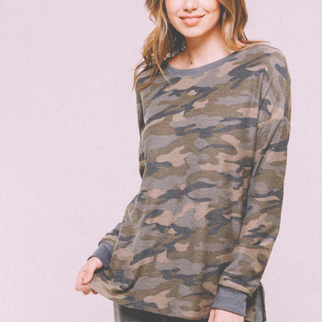 Side Slit Crewneck in Camouflage