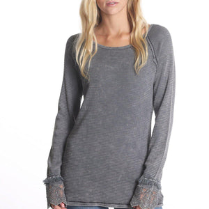 Lace Cuffed, Mineral Washed Thermal T