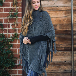 Leto Accessories - Cable Knit Poncho With Tassels