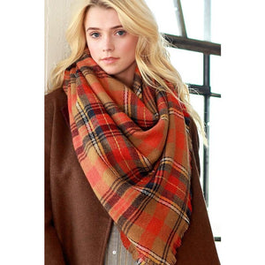 Blanket Scarf, Camel Plaid