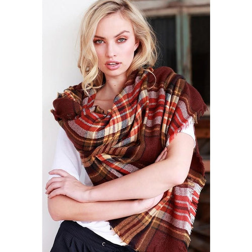 Blanket Scarf, Brick Plaid