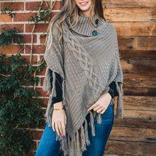 Load image into Gallery viewer, Leto Accessories - Cable Knit Poncho With Tassels