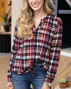 Grace & Lace Knit Plaid Henley
