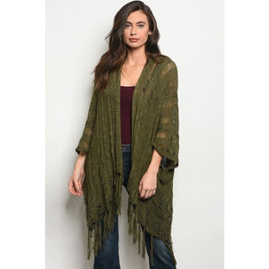 Loose Knit, Fringe Boho Wrap
