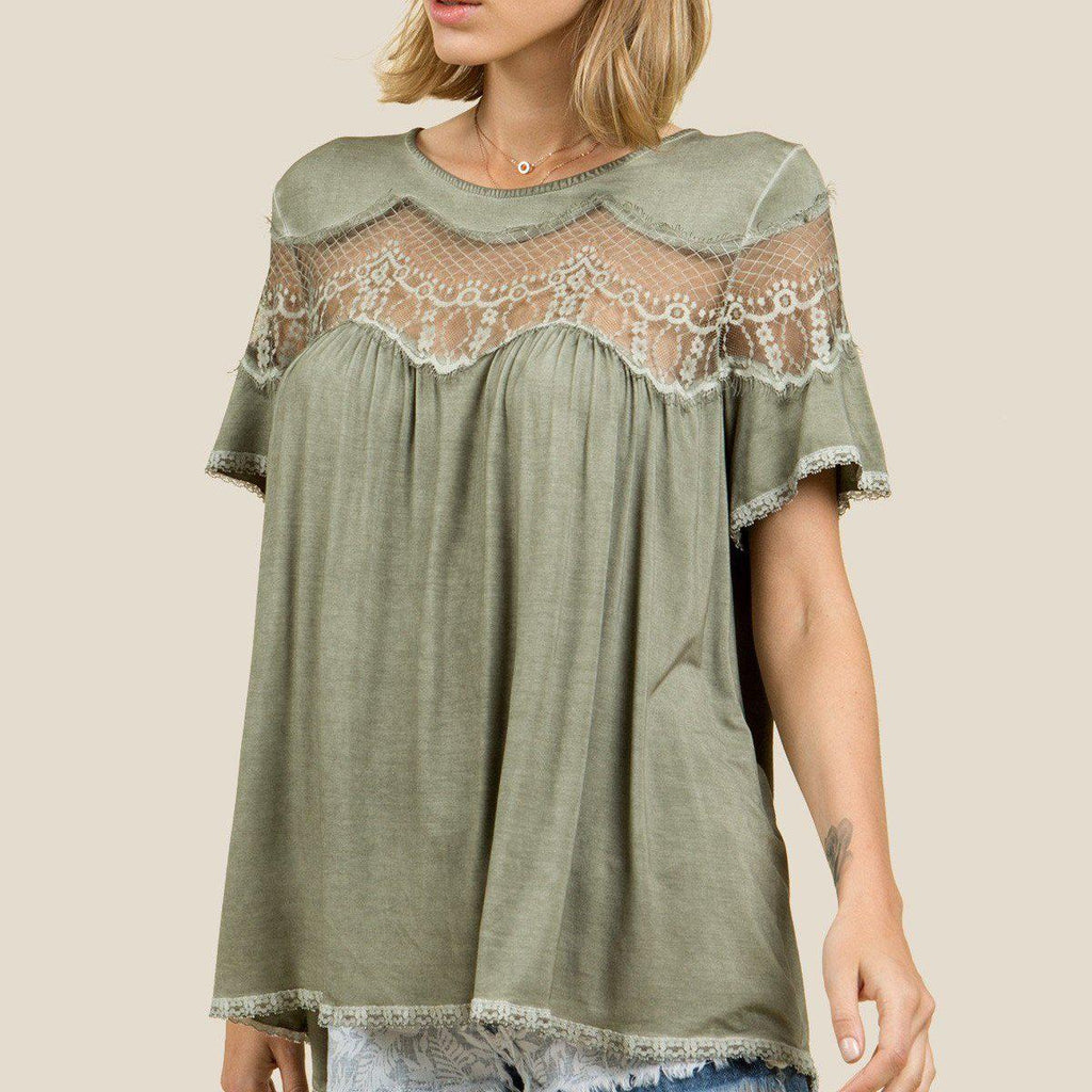 Summer Sage Lace Trimmed Knit Top