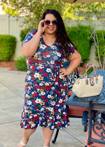 Doodle in Floral Faux Wrap Dress