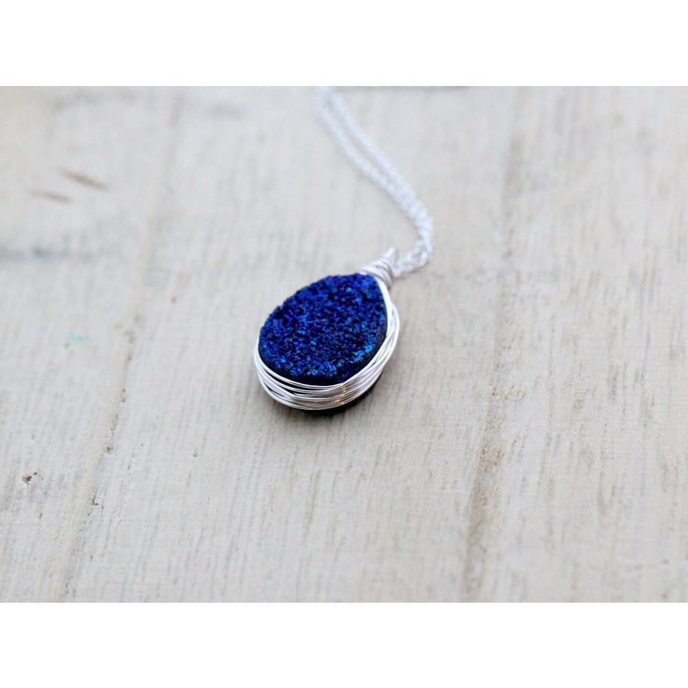 COBALT DRUZY TEARDROP NECKLACE - STERLING SILVER 20