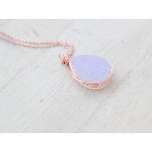 "WHITE DRUZY TEARDROP NECKLACE COTTONTAIL 18"" ROSEGOLD PREORDER"