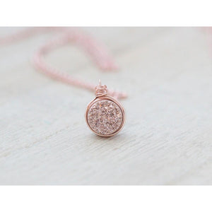"PETITE DRUZY BEZEL PENDANT NECKLACE - GILDED ROSE GOLD 18"" PREORDER"