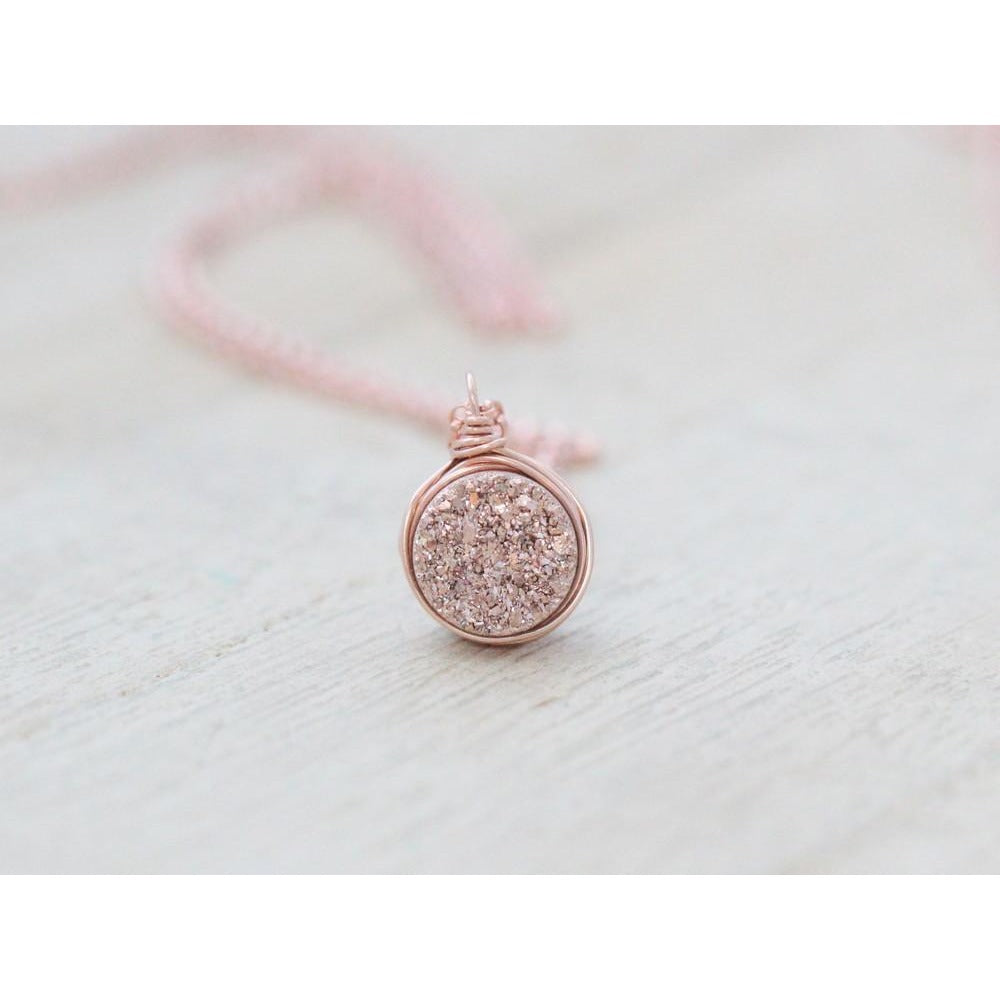 PETITE DRUZY BEZEL PENDANT NECKLACE - GILDED ROSE GOLD 18