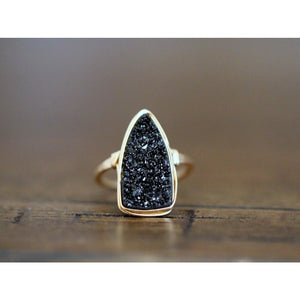 Druzy Triangle Ring Black Bohemian Cocktail Gold, Size 8 PREORDER
