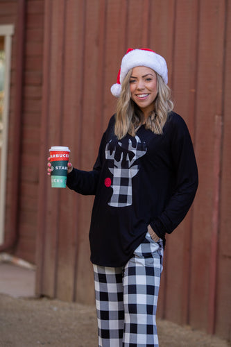 Checkered Plaid Rudolph Top