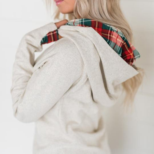 Doublehood Sweatshirt, Oatmeal Plaid