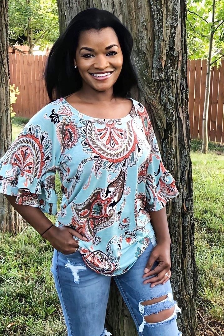 Painted Paisley Ruffle Sleeve Top