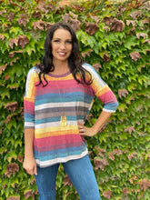 Load image into Gallery viewer, Retro Rainbow Boxy Tee