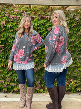 Load image into Gallery viewer, Ruffled in Floral Long Sleeve Pullover