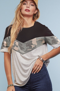 Land That I Love Chevron Color Block Tee