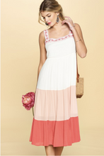 Load image into Gallery viewer, Embellished Beauty Tiered Color Block Dress